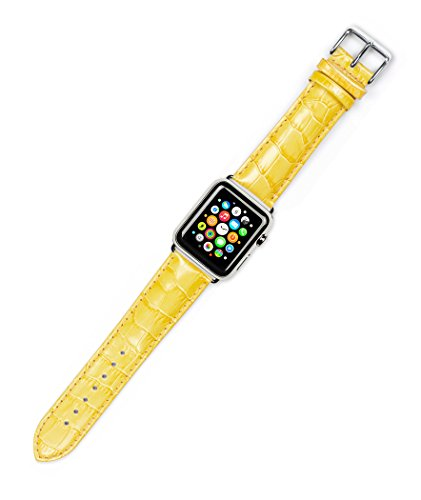 Debeer Replacement Watch Strap - Crocodile Grain - Yellow - Fits 38mm Apple Watch [Silver ()