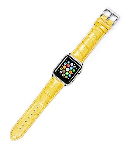 apple-watch-band-crocodile-grain-watch-band-yellow-fits-38mm-apple-watch-silver-adapters