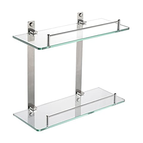 HOMEIDEAS 14-Inch Bathroom Glass Shelf Stainless Steel Lavatory Two Tiers Tempered Glass Wall Mounted Shelf,Brushed Nickel
