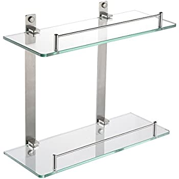 HOMEIDEAS 14 Inch Bathroom Frosted Glass Shelf Stainless Steel Lavatory Two  Tiers Tempered Glass Wall