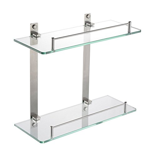 HOMEIDEAS Bathroom Frosted Glass Shelf Wall Mounted Brushed Nickel Shelf Stainless Steel Lavatory 2 Tier Tempered Glass Shelf, 14-Inch (Brushed Shelf)