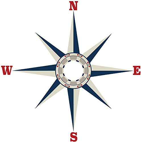 Large Nautical Compass Wall Decal, Fabric Decal, Removable, Repositionable Matte Fabric Peel and Stick Decals Ceiling Wall Decals by Wall Dressed Up (Image #5)