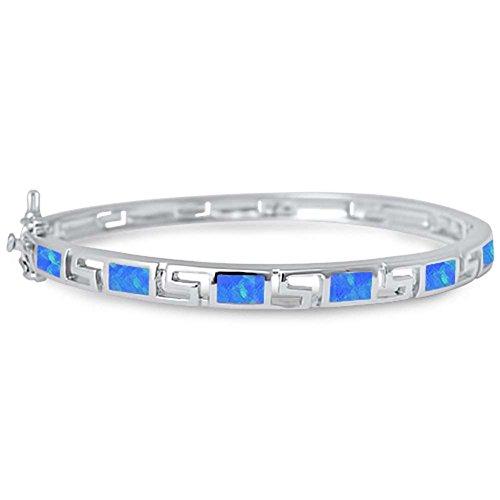Greek Design Bracelet - Greek Key Design Bangle Bracelet Created Blue Opal 925 Sterling Silver