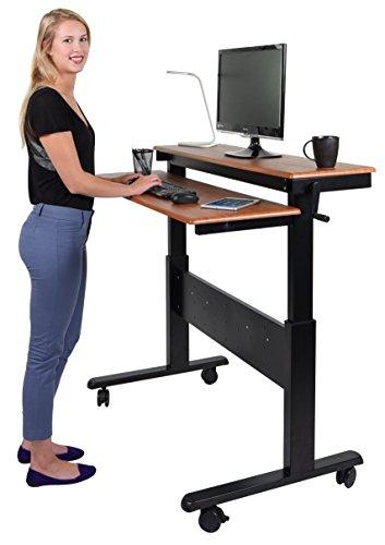 Stand Up Desk Store Crank Adjustable Sit to Stand Up Computer Desk – Heavy Duty Steel Frame, 48 Inches, Black Frame/Teak ()