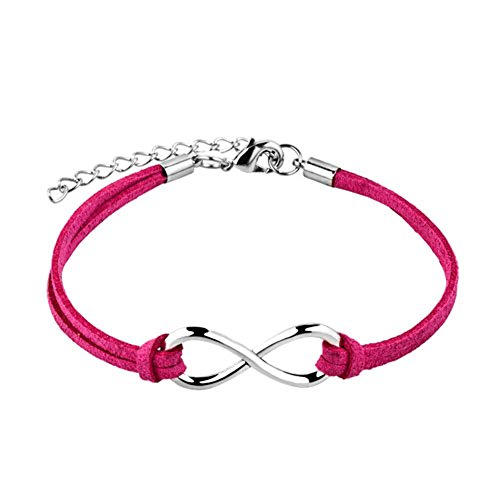 LovelyJewelry Infinity Love Multi-Color Rope Handmade Wristband Bracelets for Girls (Rose Pink) ()