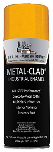 Metal-Clad Gloss Safety Yellow Industrial Enamel Aerosol - 10.75 oz, (Case of 12)