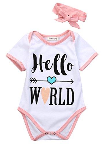 Newborn Baby Girls Clothes Hello World Romper Arrow of Cupid Bodysuit+Headwear (3-6 Months)