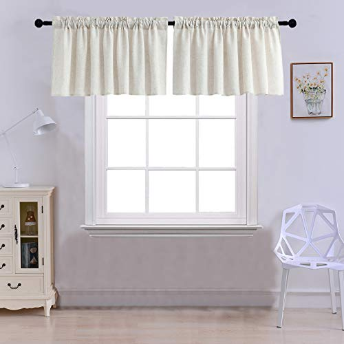 Hang Valance Curtains - Curtain Valances for Windows Burlap Linen Window Curtains for Kitchen Living Dining Room 52 x 18 inches Rod Pocket Set of 2 Crude