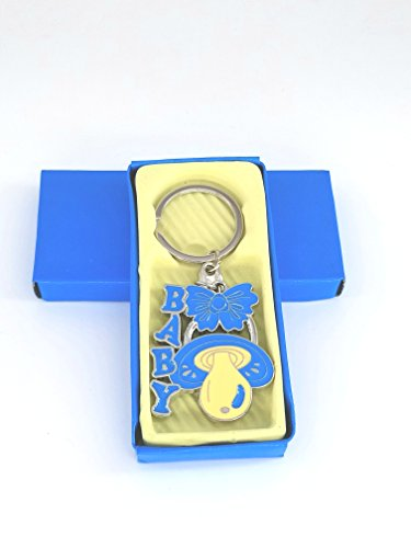 (12xBaby Shower Pacifier Keychain Party Favors Blue Boy Llaveros/Keyring )
