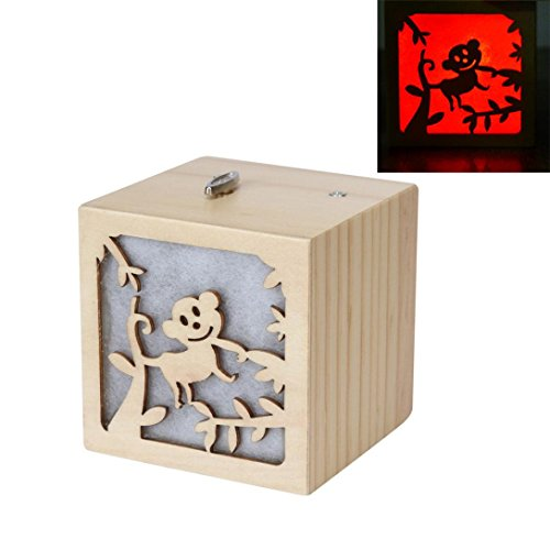 Mikey Store Animal Color Colorful Light Music Box Music Box Hand Pierced (Monkey) Monkey Music Box