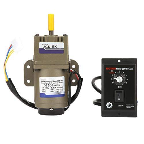 Drehzahlminderer, AC 220V 6W Einphasen Asynchron Getriebemotor Verzögerung Einstellbar Geschwindigkeit für Verpackungsindustrie, Werkzeugmaschinenindustrie, Transportgeräte(5K)