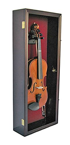 Fiddle, Violin Display Case Shadow Box with Hanger, with Lock (Mahogany ()