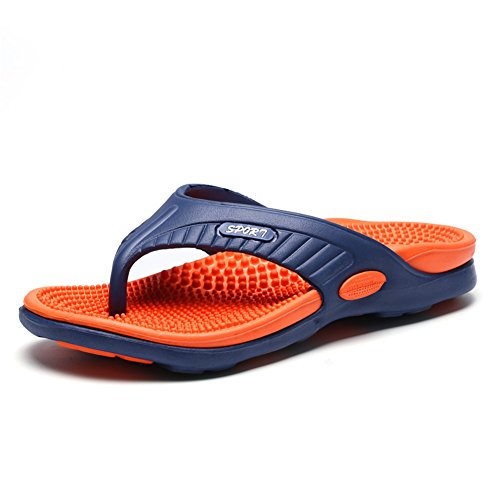Scurtain Mens Casual Massage Flip Flop Slippers Comfortabel Zwembad Strand Sandaal Oranje
