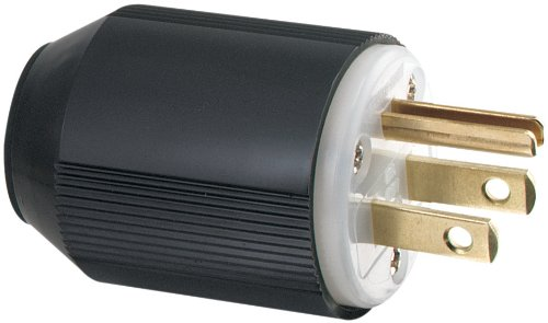 Eaton 5266-L 15-Amp Industrial Grade 3-Wire Grounding Plug, Black 3 Wire Grounding Connector