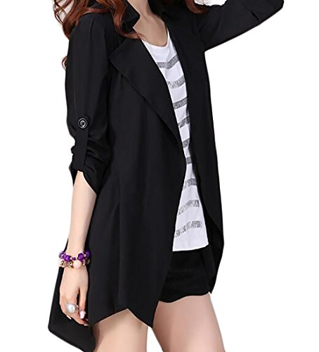 YYear Womens Casual Open Front Irregular Hem 3/4 Roll Sleeve Lapel Cardigan Jacket Black XL Roll Sleeve Cardigan