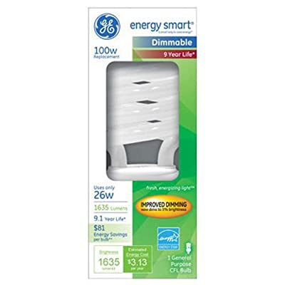 GE Lighting 66663 Energy Smart Dimming CFL 26-watt 1635-Lumen T3 Spiral Light Bulb with Medium Base, 1-Pack