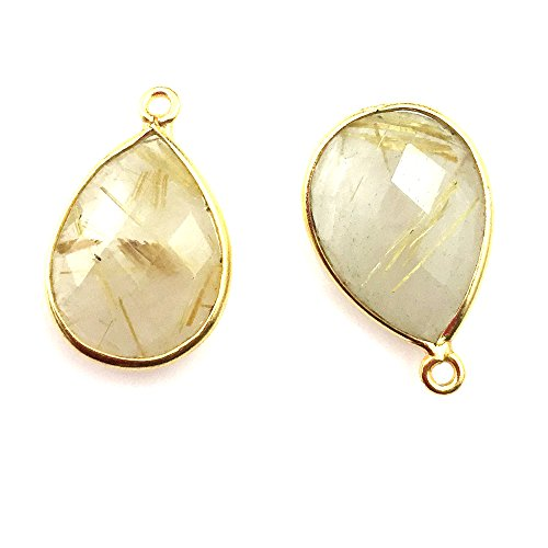 Gemstone Pendant - 13x18mm Faceted Pear Shape - Gold Rutilated Quartz ( 2 Pieces) ()