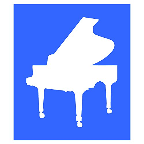 Auto Vynamics - STENCIL-MUSIC-PIANO - Classic Grand Piano Individual Stencil from Detailed Musical Instruments Stencil Set! - 9-by-10-inch Sheet - Single Design