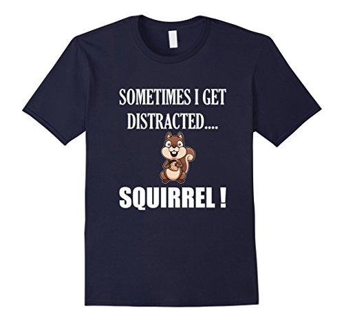 Men's FUNNY DISTRACTED SQUIRREL T-SHIRT Animal Zoo Farm Meme Gift XL Navy (Hunter Mens Costume)
