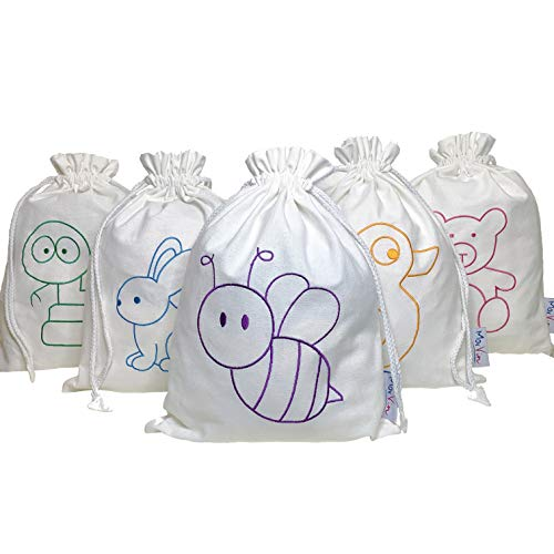 Reusable Cotton Baby Gift Bags, Pack of 5, 15″x11.8″ for Baby Shower, Birthdays, Parties and New Parents by MorVin