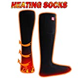 Battery Heated Socks Electric Rechargeable Heating Sox Kit for Men Women,Winter Warm Heat Insulated Stockings for Chronically Cold Feet,Novelty Sports Outdoor Climb Hike Hunt bike Thermal Foot Warmers