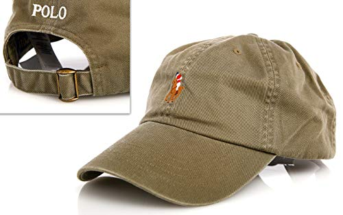 Polo Ralph Lauren Chino Baseball Cap Army Green Colored Pony One Size