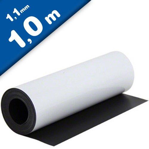 flexible magnetische Folie haftet auf allen metallischen Oberfl/ächen Magnetfolie wei/ß matt beschichtet 1,1mm x 0,62m x 1m in Digitaldruck bedruckbar