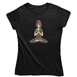 Live2Inspire Yoga Lady Namaste Pose Ladies Yoga T Shirt (Y22) Women's Yoga top, Yoga Clothing, Spiritual Clothing