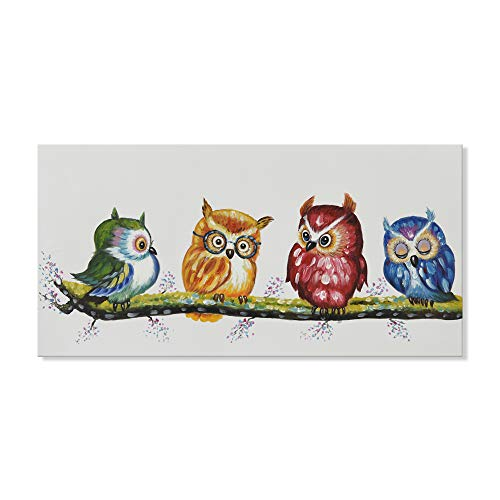 - SEVEN WALL ARTS - 100% Hand Painted Oil Painting Animal Colorful Animal Painting with Stretched Frame Wall Art for Home Decor Ready to Hang (18 x 36 Inch, Colorful Owls)