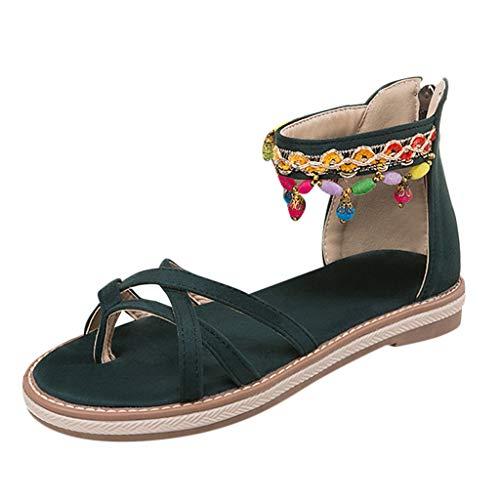 (MmNote Women Shoes, Womens Boho Flip-Flops Low Wedge Sandal Elegant Retro Gorgeous Sandals Shoes Green)
