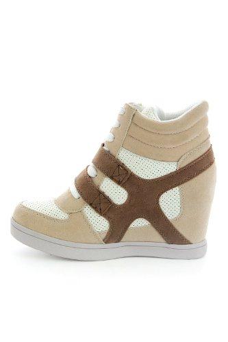 0170dd36e17e6 ... Baskets mode compensées bimatière urban - chaussures femme - Beige- 41