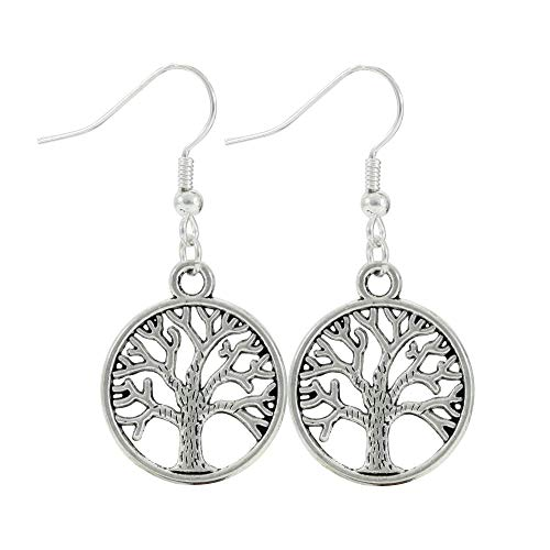 Tree of Life Silver Tone Nature Earrings, Handmade Celtic Jewelry, Women's Dangle Earring Set ()