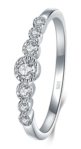 BORUO 925 Sterling Silver Ring, Cubic Zirconia CZ Diamond Eternity Engagement Wedding Band Ring Size 8 Dome Sterling Silver Necklace