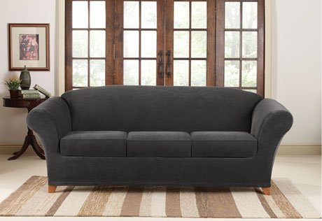 Bon Sure Fit Stretch Piqué 3 Seat Individual Cushion Sofa Covers Black