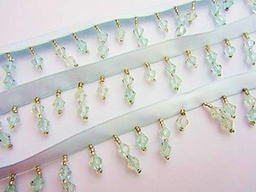 Designer Fabric - 2 Yards Light Blue Bead Satin Ribbon lace/Trim/Sewing/lampshade Home Decor t148 - Clothing & Fashion Apparel Trimmings