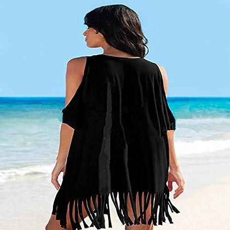 XIAOPANGHIA Ladies Summer Women Large Swimwear Casual Tassel Off Shoulder Sheer Beach Maxi Wrap Dress Sarong Pareo
