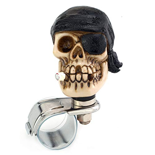 (Thruifo Skull Car Handle Spinner Steering Wheel Suicide Knob, One-Eyed Pirate Style Car Power Grip Knobs Fit Most Manual Automatic Vehicles, Black)