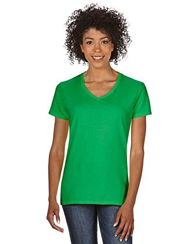 Womens Irish V-neck T-shirt - Gildan Heavy Cotton™ Ladies' 5.3 oz. V-Neck T-Shirt, 3XL, IRISH GREEN