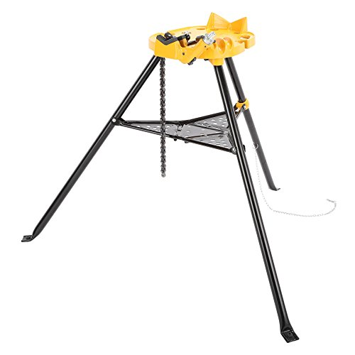 Pinty 1/8 to 6 Tripod Pipe Chain Vise Stand w/ Steel Legs & Rubber Mounts, CE Certificated