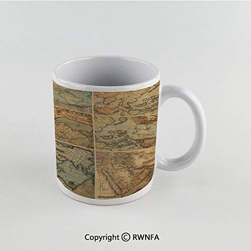 11oz Unique Present Mother Day Personalized Gifts Coffee Mug Tea Cup White Wanderlust Decor,Collage with Antique Old World Maps Vintage Style Ancient Collection of Civilization Print,Multi Funny Cera