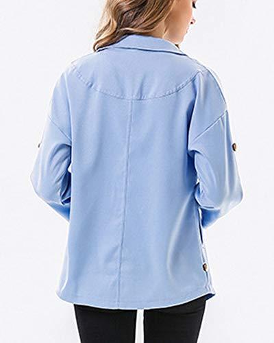 Manches vent Coupe Bleu Jacket Irrégulière Mengmiao Femme Coat Chemise Longues xqgFItI