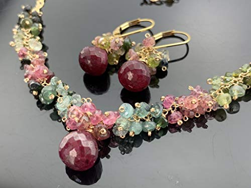 Ruby and Watermelon Tourmaline 14k Gold Filled Gemstone Necklace and Leverback Earrings Cluster Set