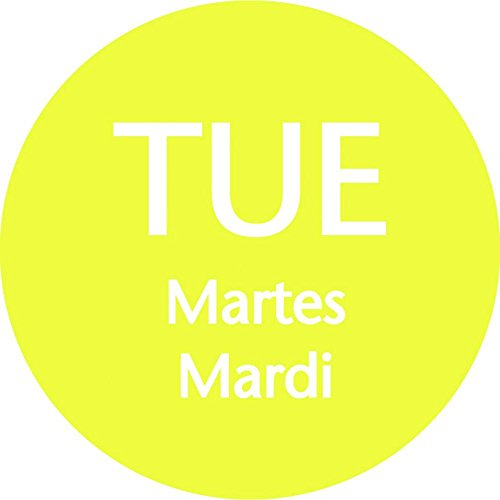Tuesday Labels Yellow Day of The Week Dots Tri-Lingual - 3/4