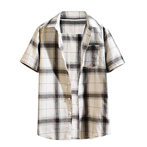 - Summer Mens Shirt Casual Plaid Stitching Short Sleeved Jacket Top Blouse