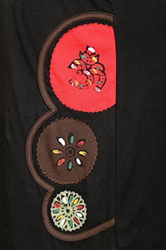 manches et conception Noir Robe broderie de avec courtes brosse chakra peinture fdcq4d