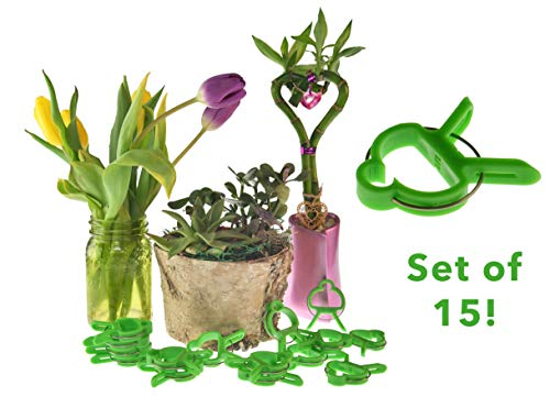 HOME-X Plant Holder Clips, 15 Heavy-Duty Gardening Tools to Attach to Trellis or Stake