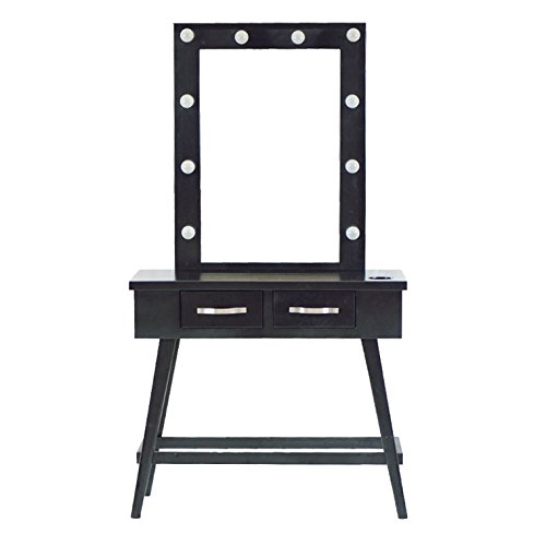 FlagBeauty Home Furnishing Espresso Tri-mirror Vanity With LED Dressing Tables
