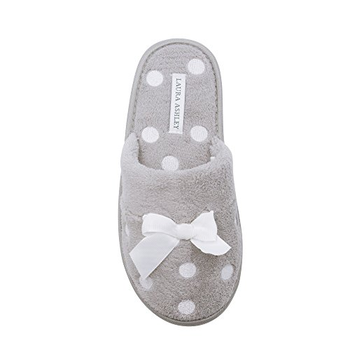 Laura Ashley Ladies Dot Embroidered Soft Terry Plush Scuff Slippers, Cool Grey, Small -