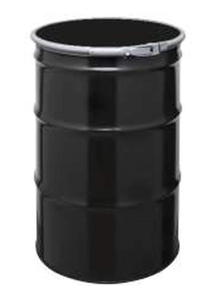 55 Gal Steel Drum Open-Head   Black   Metal Barrel   Rust Inhibitor Lining   Lever Lock Ring Closure