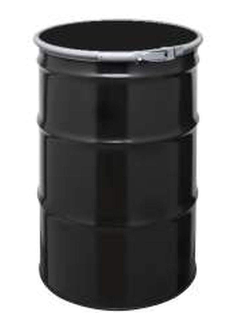 55 Gal Steel Drum | Open-Head | Black with Bungs Lid Cover | Rust Inhibitor Lining | Lever Lock Ring Closure
